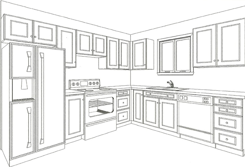 Picture, designer drawrings of kitchen layout. 20/20 drawings